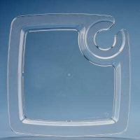 PartyBasics PartyPal clear plastic plate with cup/glass holder